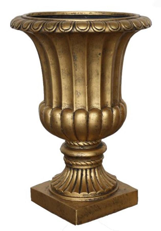Vaso Decorativo Composto Mineral Taça Dourada 49x70cm  - Arrivo Mobile