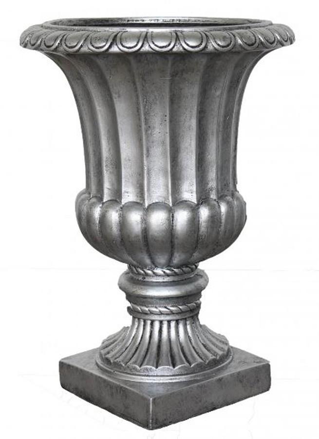 Vaso Decorativo Composto Mineral Taça Prata 49x70cm  - Arrivo Mobile