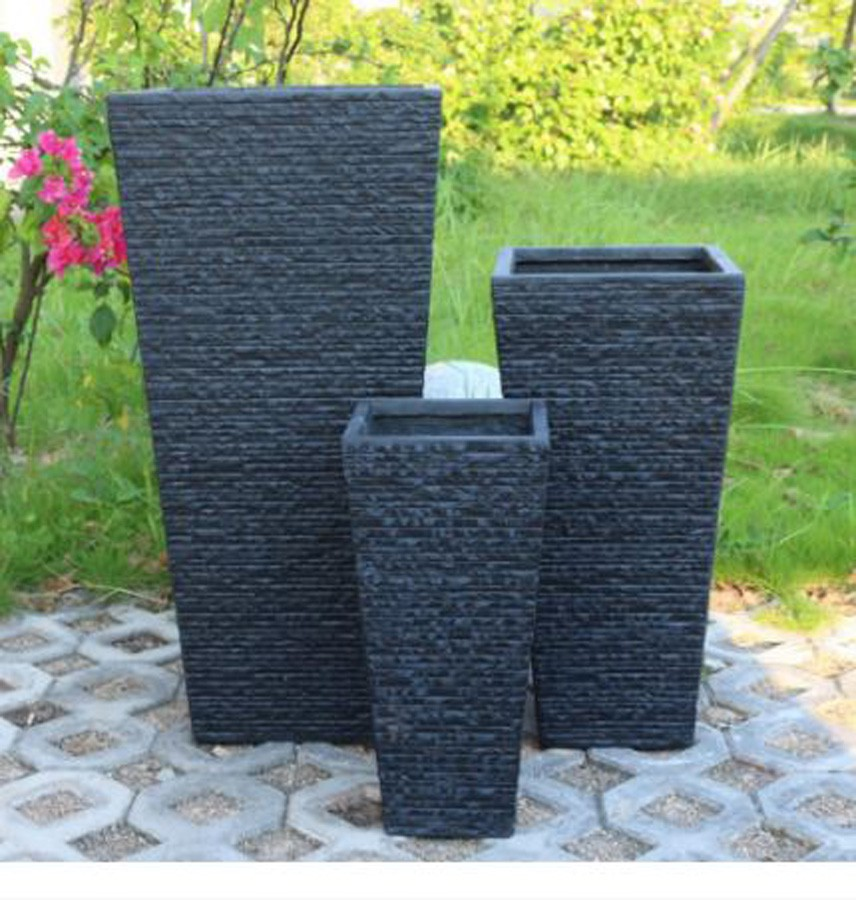 Vaso Decorativo de Composto Mineral Preto Ret. 51x54cm   - Arrivo Mobile