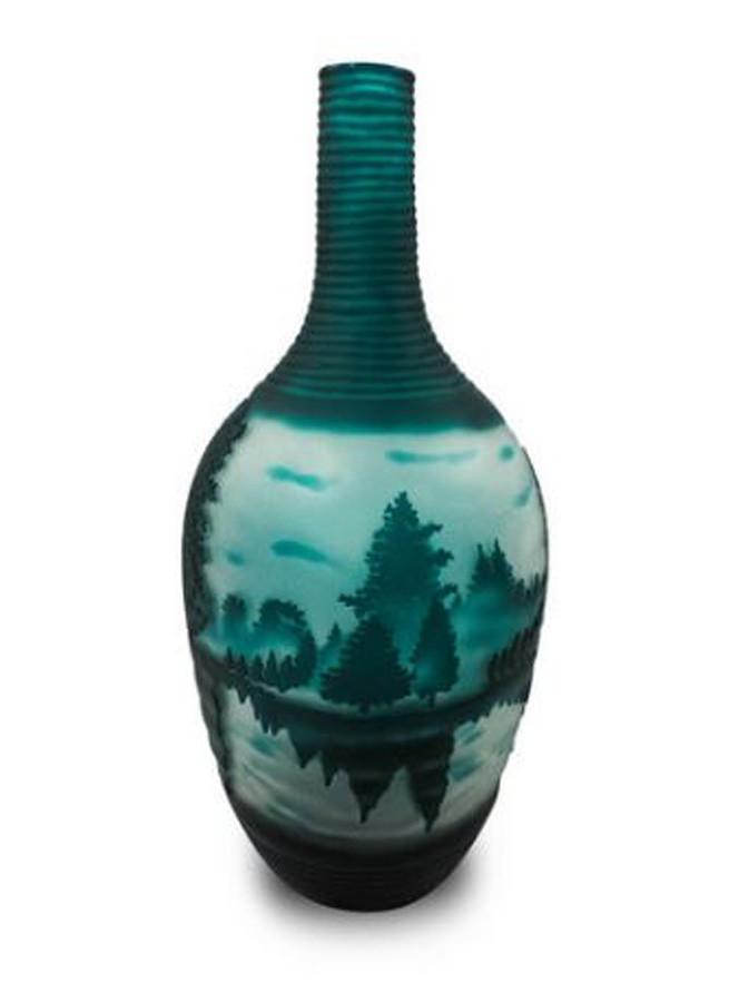 Vaso Decorativo Vidro Floresta Verde 41x16cm  - Arrivo Mobile