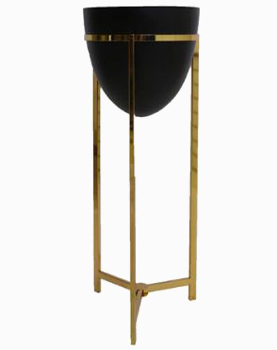 Vaso Preto Metal Com Suporte Dourado 108x43x43cm  - Arrivo Mobile