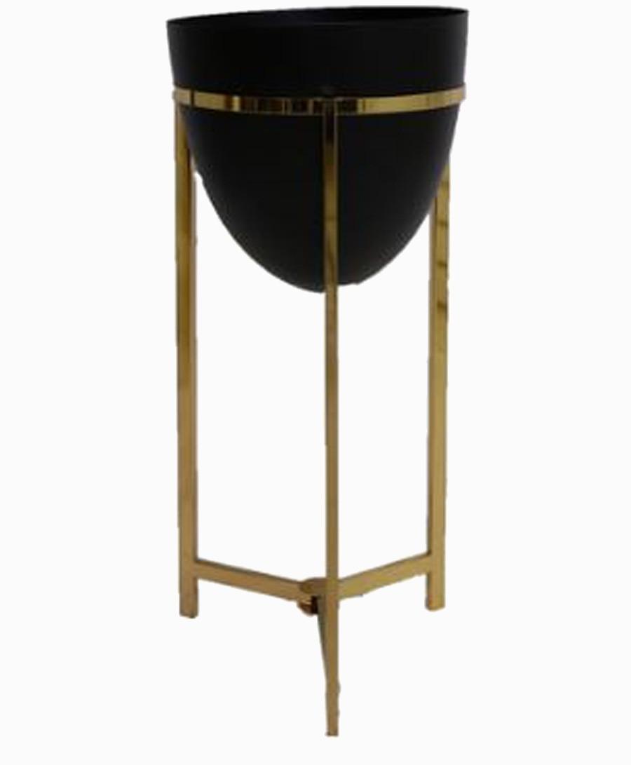 Vaso Preto Metal Com Suporte Dourado 58x43x43cm  - Arrivo Mobile