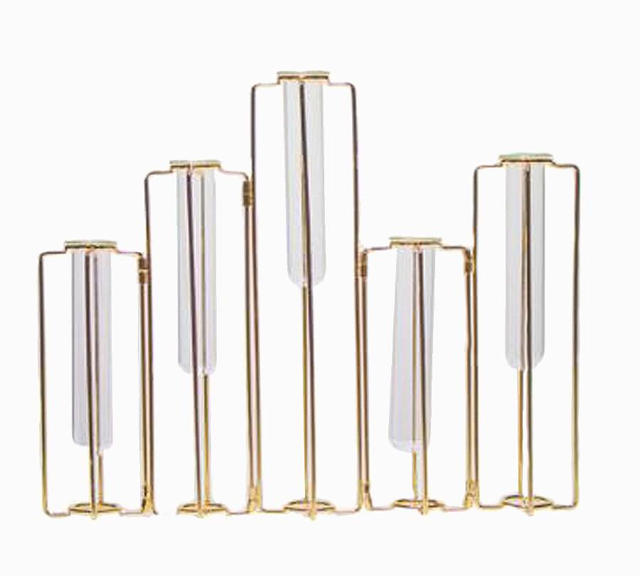 Vaso Vidro Aramado Articulado 5 Frascos Pequeno Dourado  - Arrivo Mobile