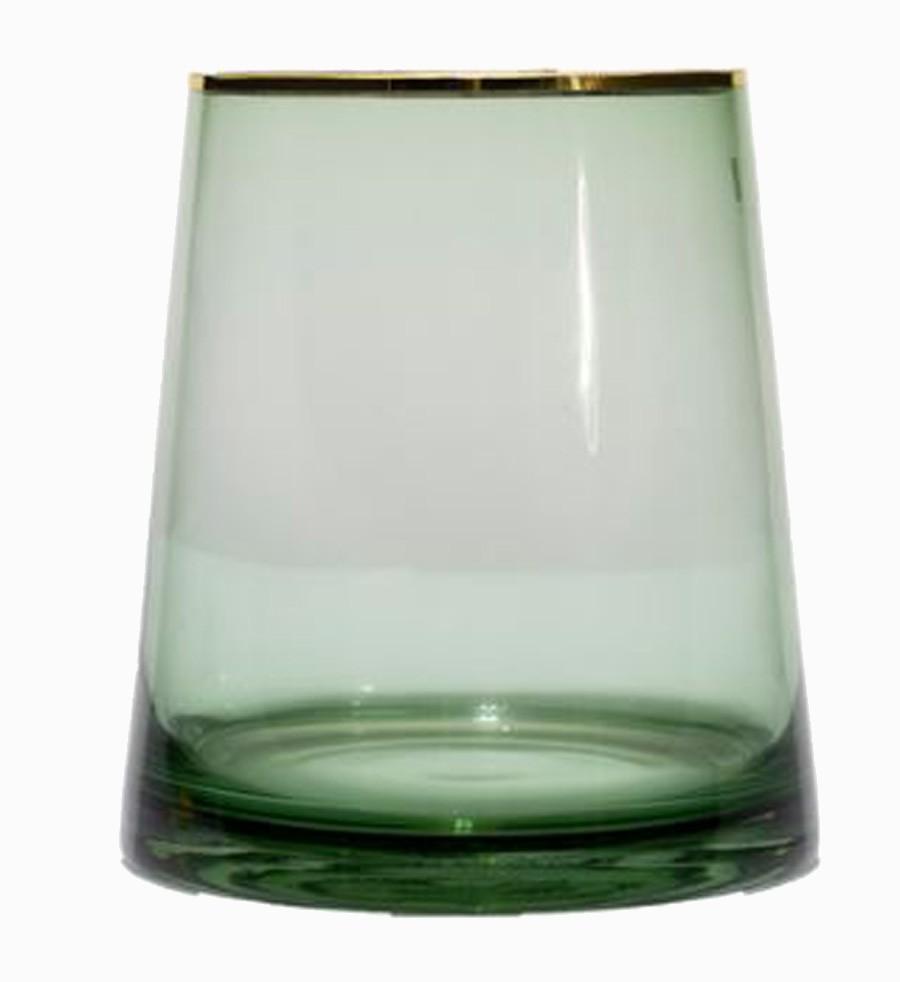 Vaso Vidro Redondo Grande Verde Filete Dourado 20x18x18cm  - Arrivo Mobile