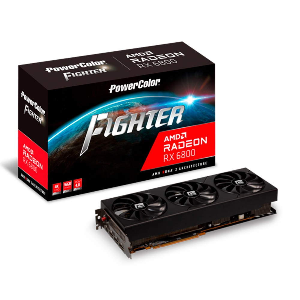 PLACA DE VIDEO POWER COLOR AMD Radeon RX 6800 16GB Fighter AXRX 6800 16GBD6-3DH/OC