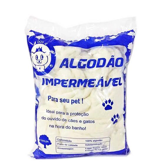 ALGODÃO IMPERMEÁVEL HIDRÓFOBO PROTEÇÃO DE OUVIDO PET 500G