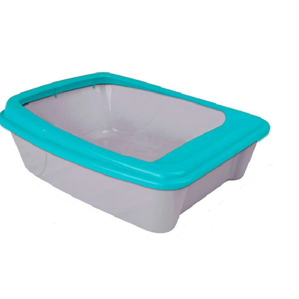 BANDEJA SANITARIA WC CAT COM BORDA  PARA GATOS - AZUL