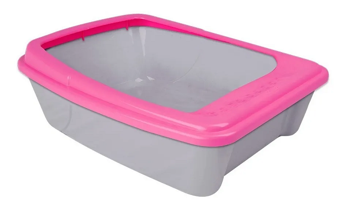 BANDEJA SANITARIA WC CAT COM BORDA  PARA GATOS - ROSA