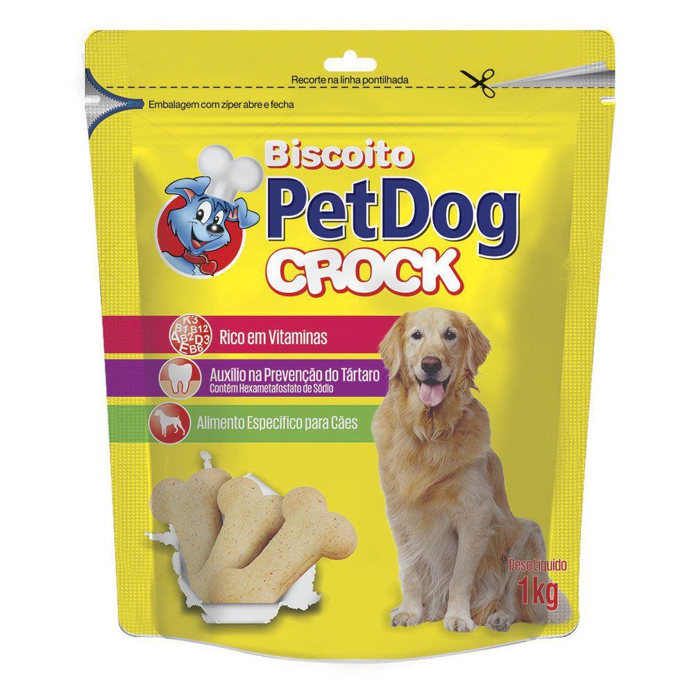 Biscoito Pet Dog Croc para cães médio a grande porte - 1KG