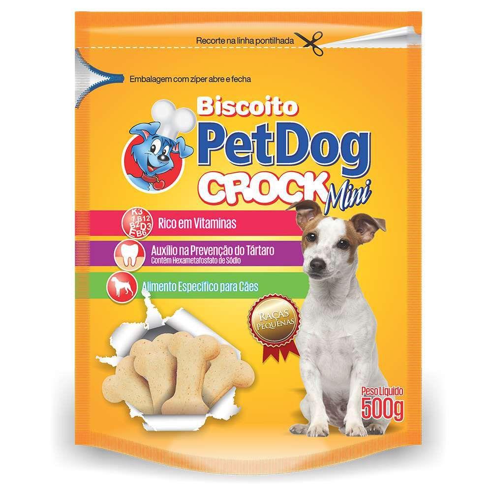 Biscoito Pet Dog Croc para cães pequeno porte - 500g