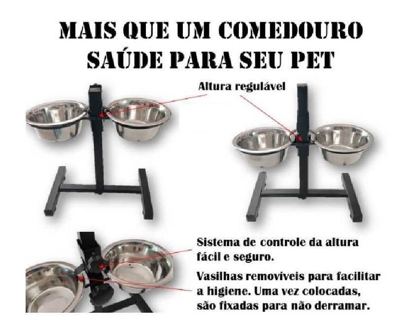 COMEDOURO DUPLO AÇO INOX COM SUPORTE AJUSTÁVEL  1500ML