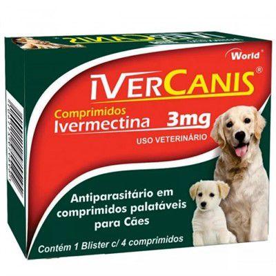 IVERCANIS 3mg (IVERMECTINA) PARA CÃES - CAIXA 4 COMPRIMIDOS