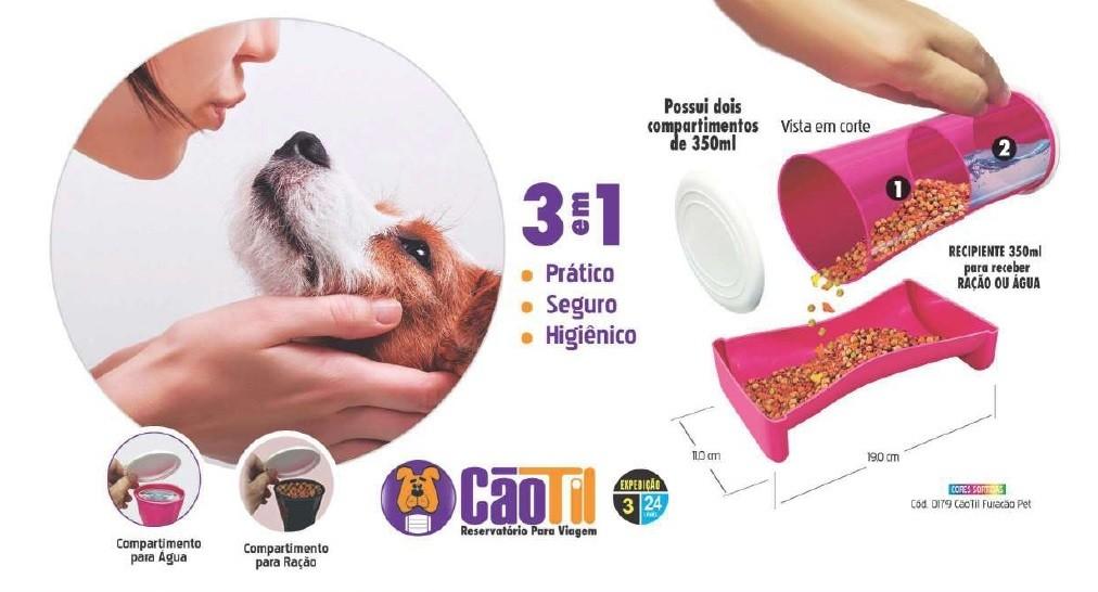 PORTA RAÇÃO E ÁGUA PARA VIAGEM 350ML - FURACÃO PET