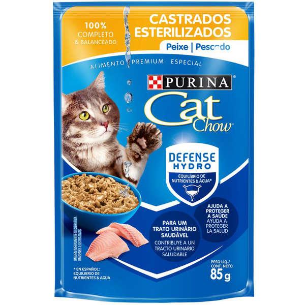 RAÇÃO ÚMIDA CAT CHOW PARA GATOS CASTRADOS SABOR PEIXE 85g