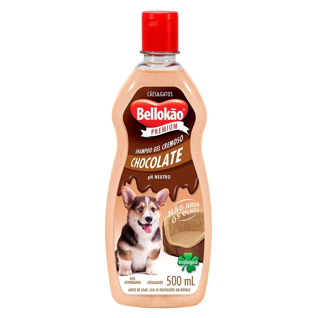 SHAMPOO BELLOKÃO CHOCOLATE PARA CÃES E GATOS 500ML