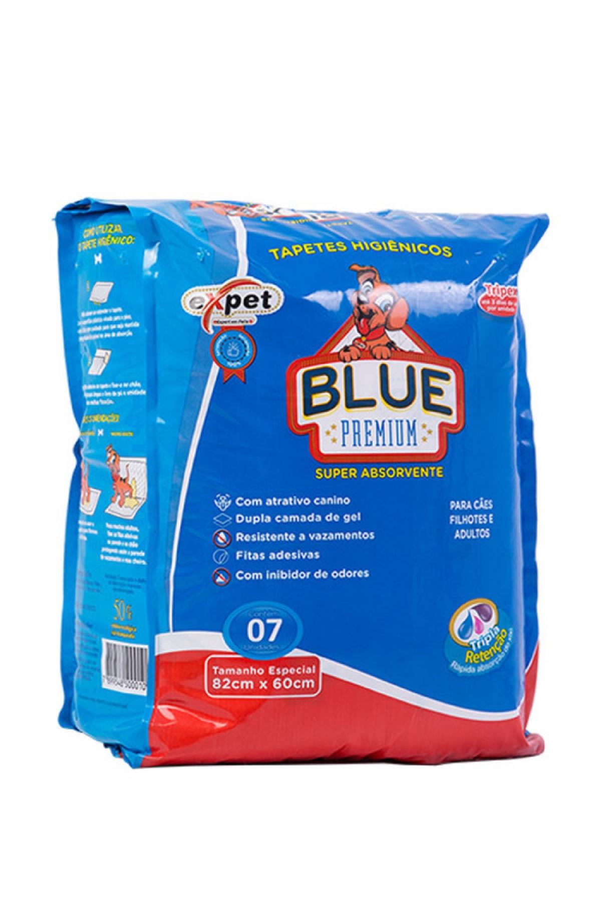 TAPETE HIGIENICO EXPET BLUE PREMIUM 82X60CM 7 UNIDADES