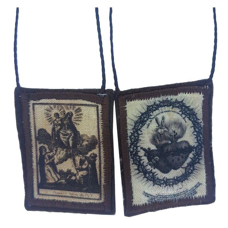 Escapulário de Tecido com Porta Medalha (3 x 4 cm) - P&B