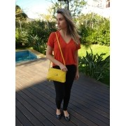 Bolsa Carteira Clutch TopGrife Transversal Couro Amarelo