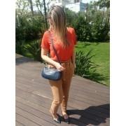 Bolsa Carteira Clutch TopGrife Transversal Couro Azul Marinho - Promoção