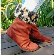 Bota de Pelo SapatoWeb Dobrável Camurça