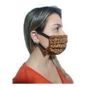 Kit com 5 Máscaras De Proteção Tecido Lavável Reversível Onça e Preto