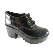 Sapato SapatoWeb Salto Grosso Tratorado Verniz Preto