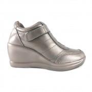 Sneaker Via Uno Metalizado Couro Bronze