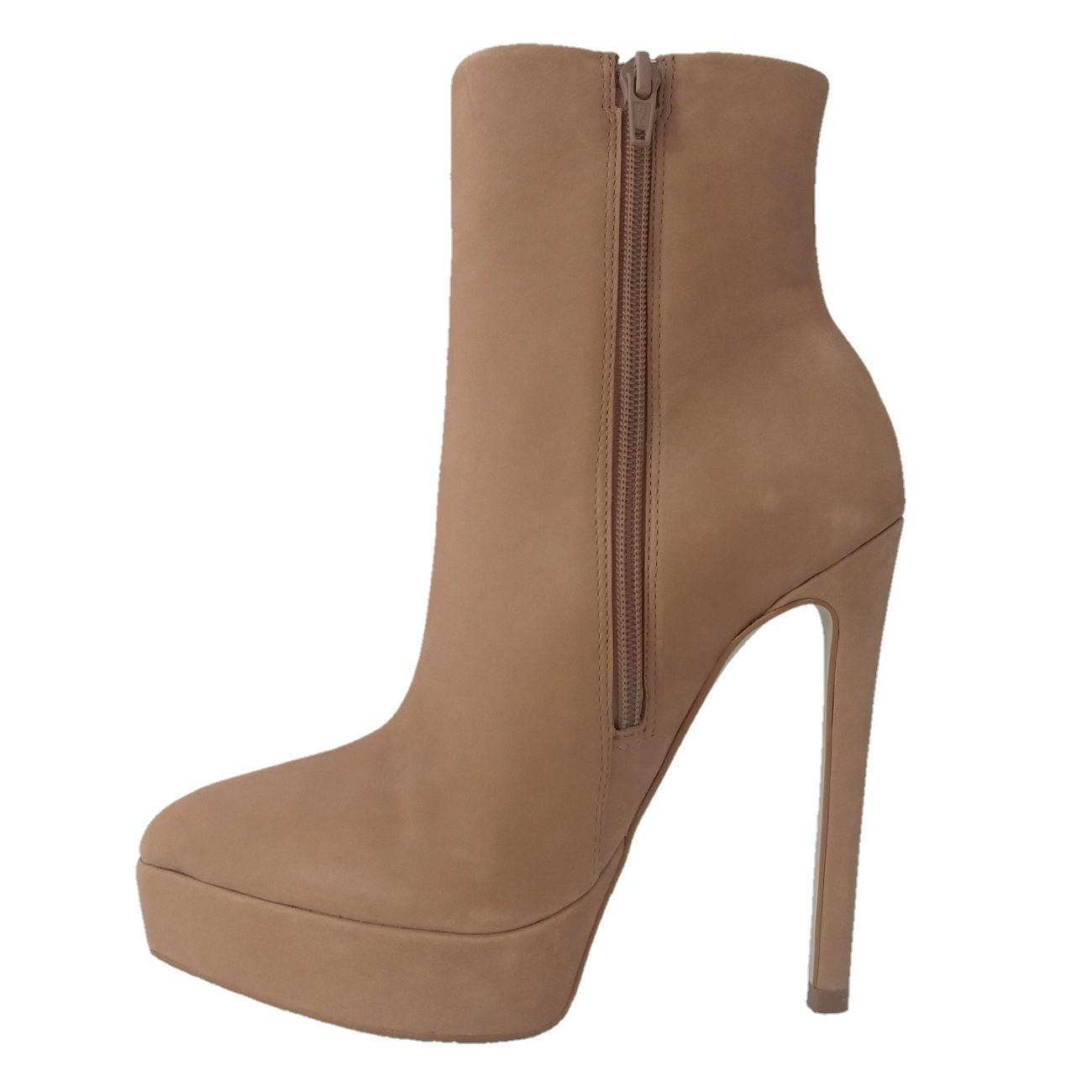 Ankle Boot Plataforma TopGrife Couro Bege  - SAPATOWEB.COM