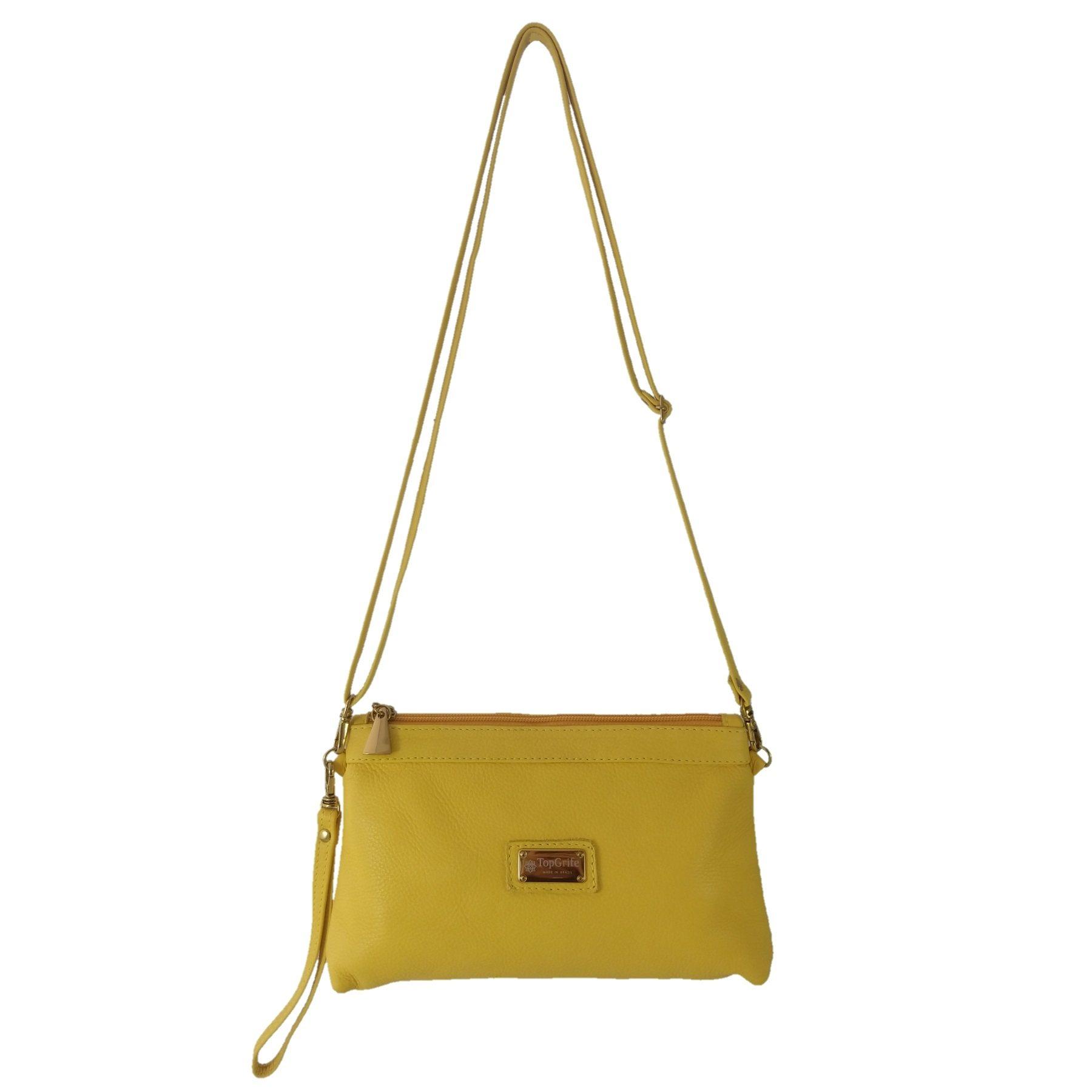 Bolsa Carteira Clutch TopGrife Transversal Couro Amarelo  - SAPATOWEB.COM