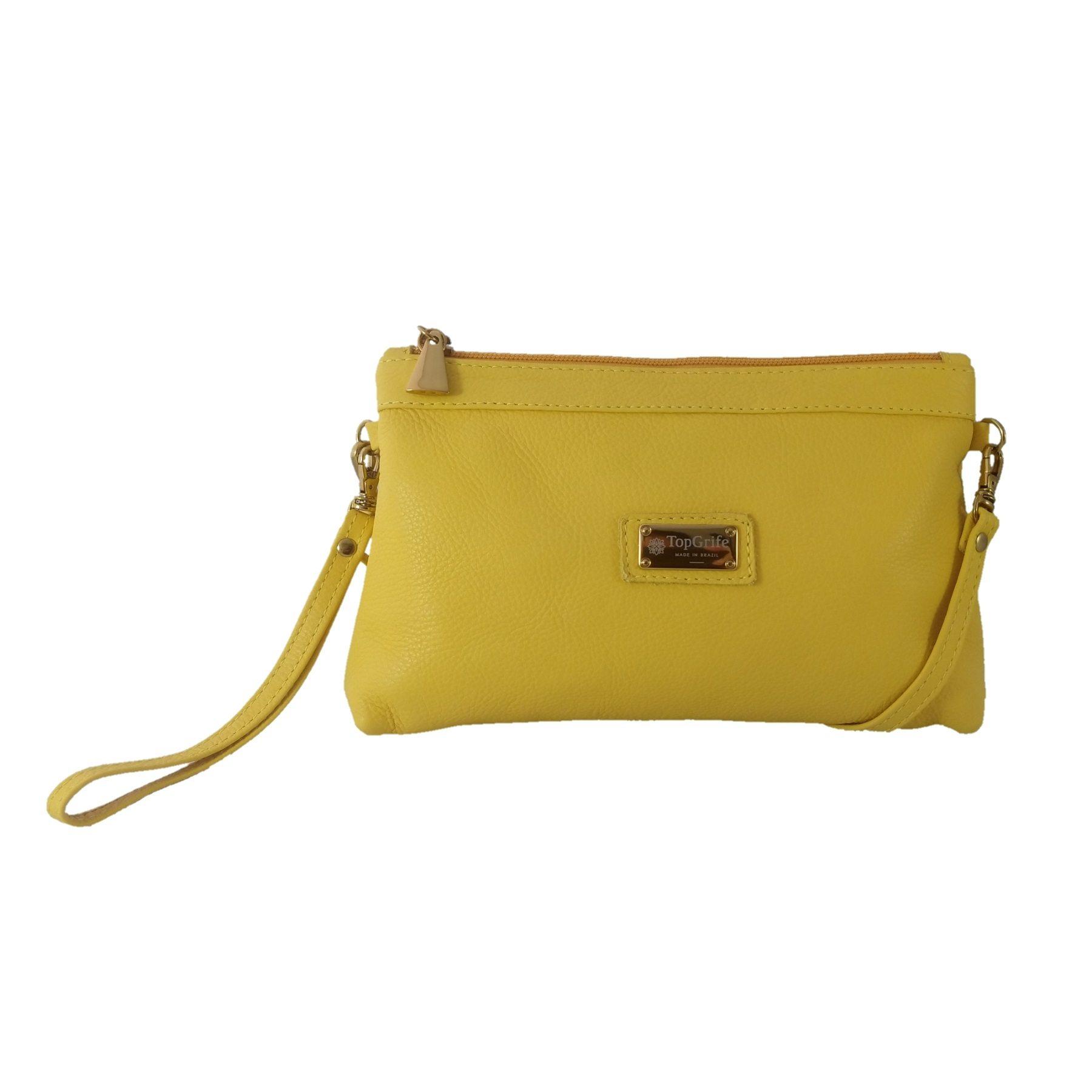 Bolsa Carteira Clutch TopGrife Transversal Couro Amarelo - Promoção  - SAPATOWEB.COM