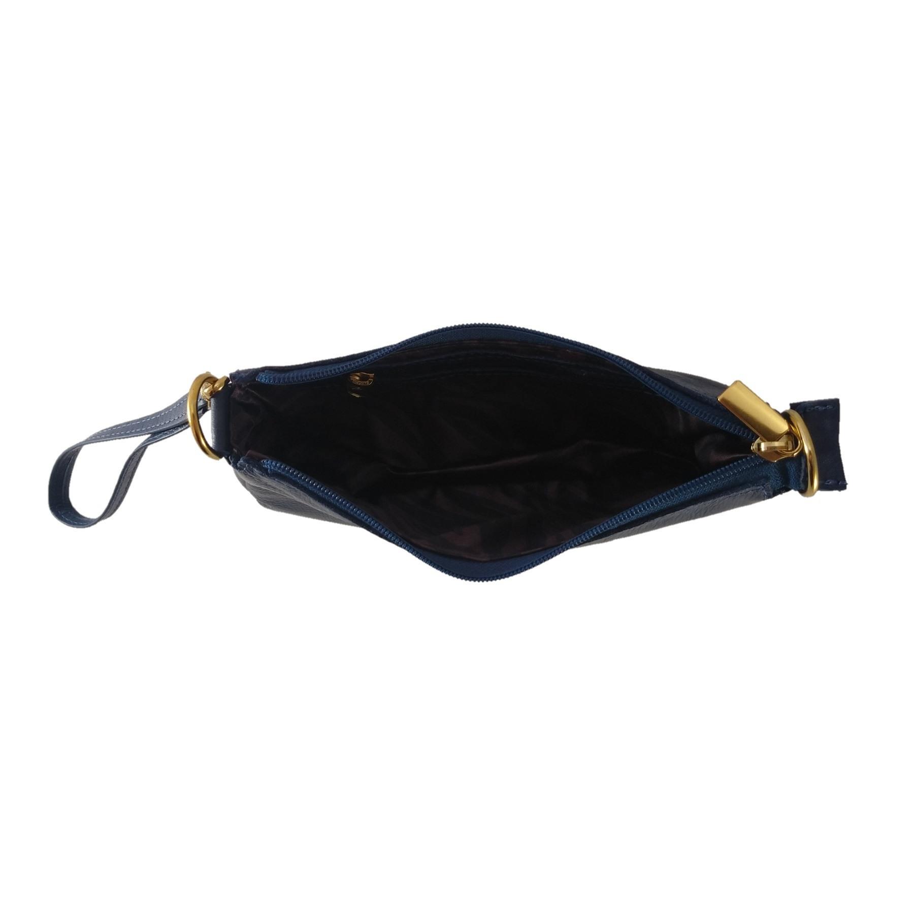Bolsa Carteira Clutch TopGrife Transversal Couro Azul Marinho - Promoção  - SAPATOWEB.COM