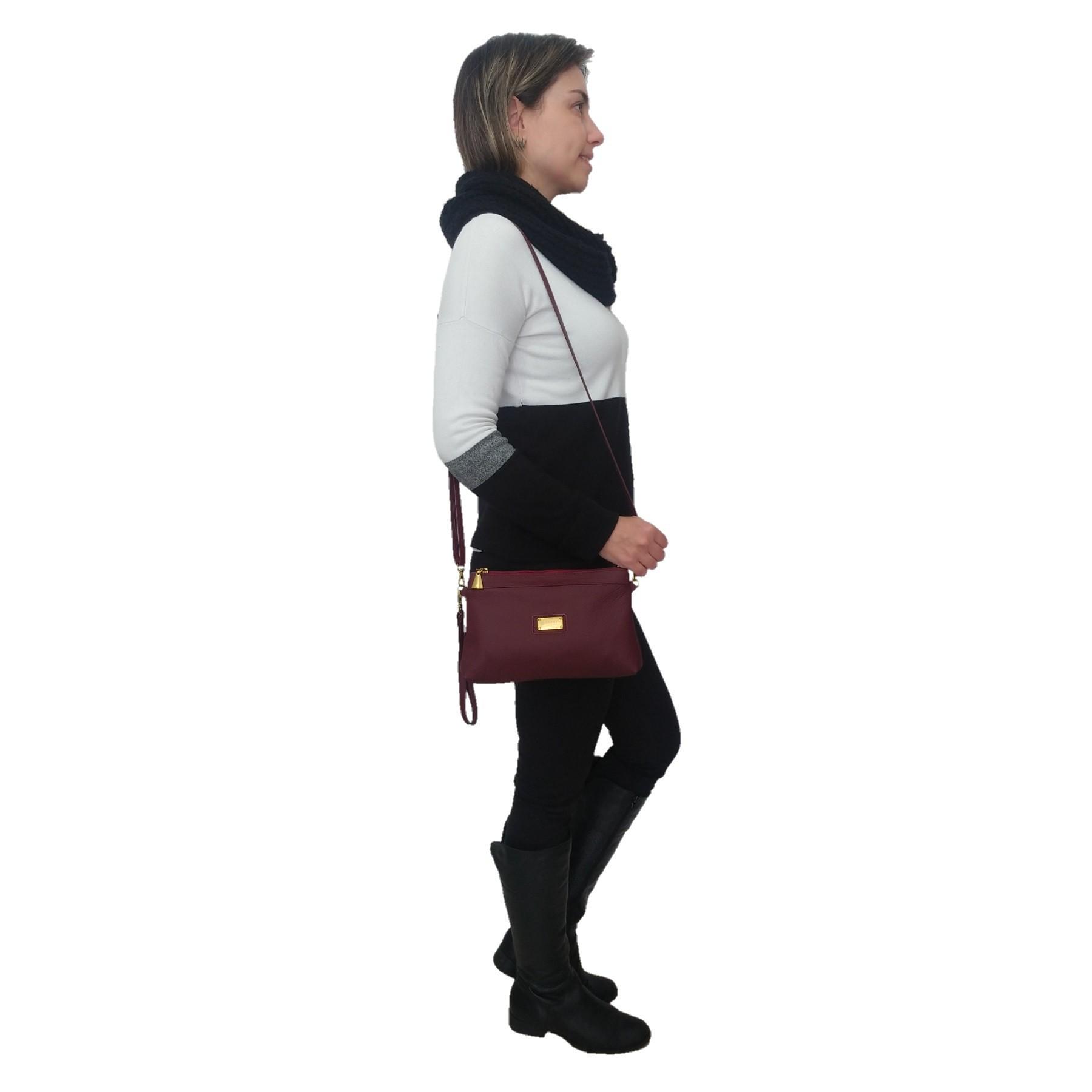 Bolsa Carteira Clutch TopGrife Transversal Couro Bordô - Promoção  - SAPATOWEB.COM