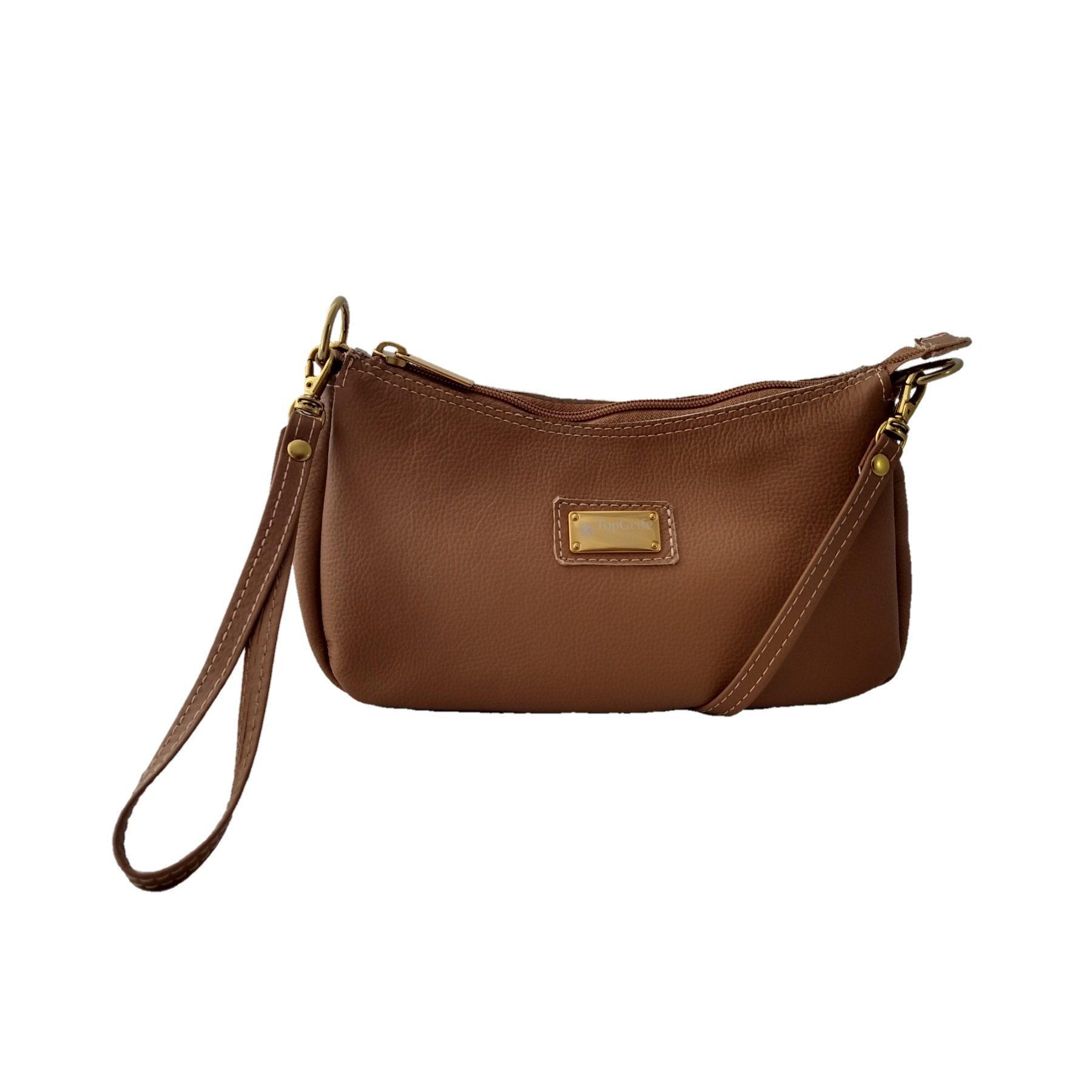 Bolsa Carteira Clutch TopGrife Transversal Couro Caramelo  - SAPATOWEB.COM