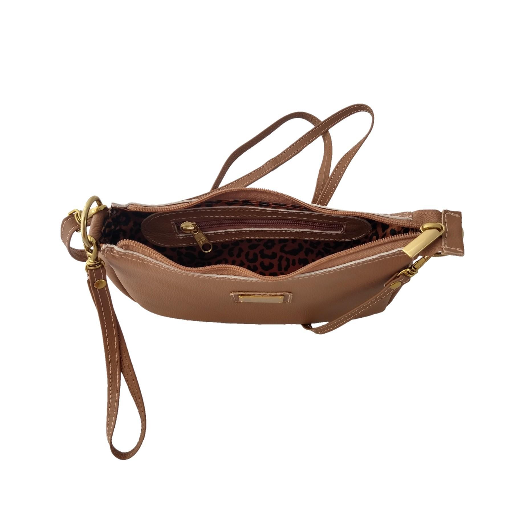 Bolsa Carteira Clutch TopGrife Transversal Couro Caramelo - Promoção  - SAPATOWEB.COM