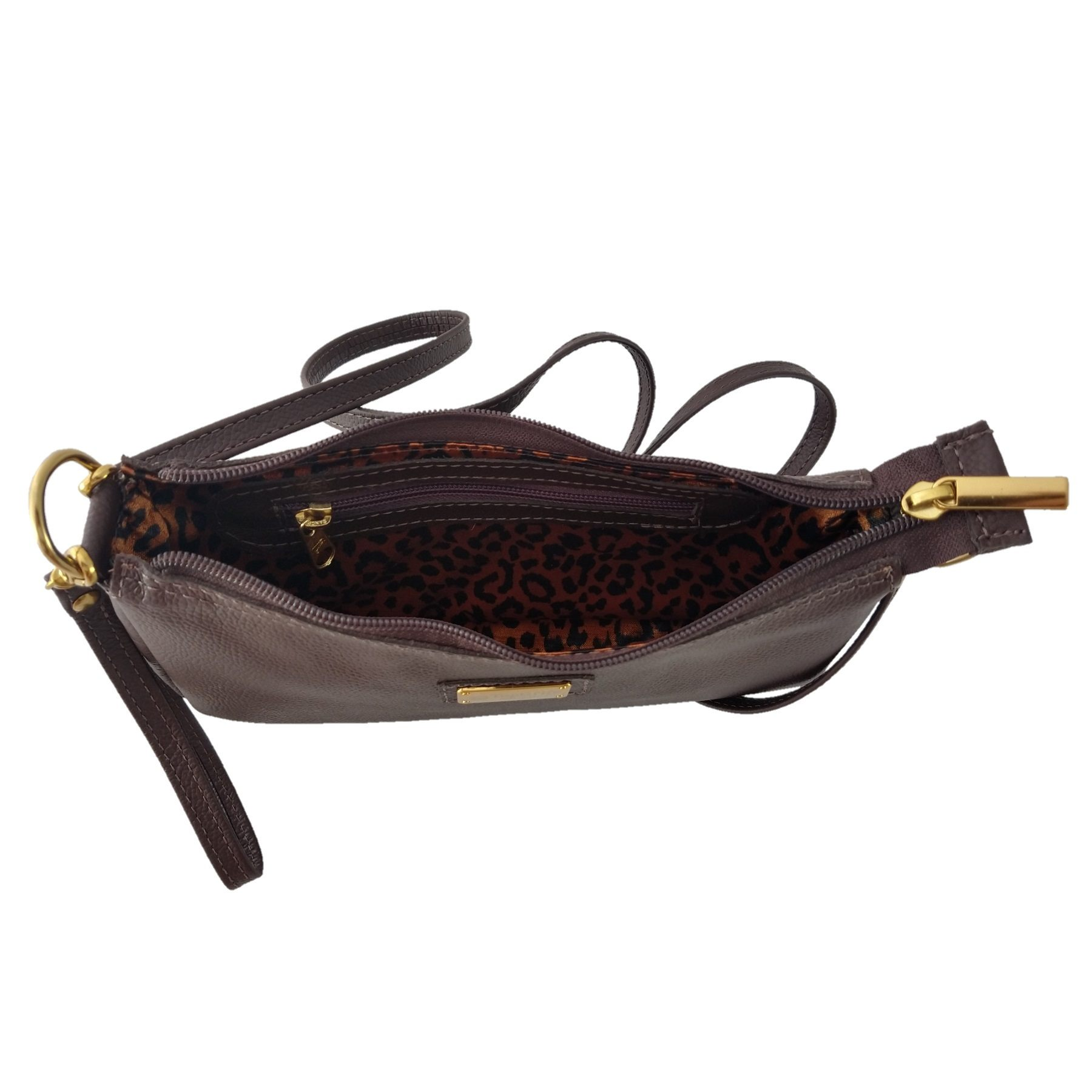 Bolsa Carteira Clutch TopGrife Transversal Couro Marrom  - SAPATOWEB.COM