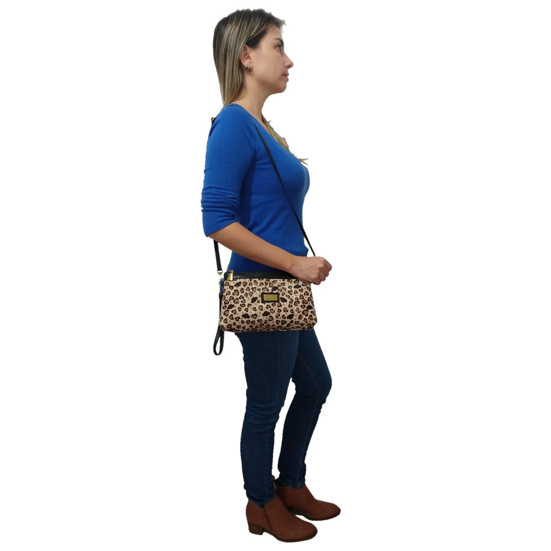 Bolsa Carteira Clutch TopGrife Transversal Couro Onça - Promoção  - SAPATOWEB.COM