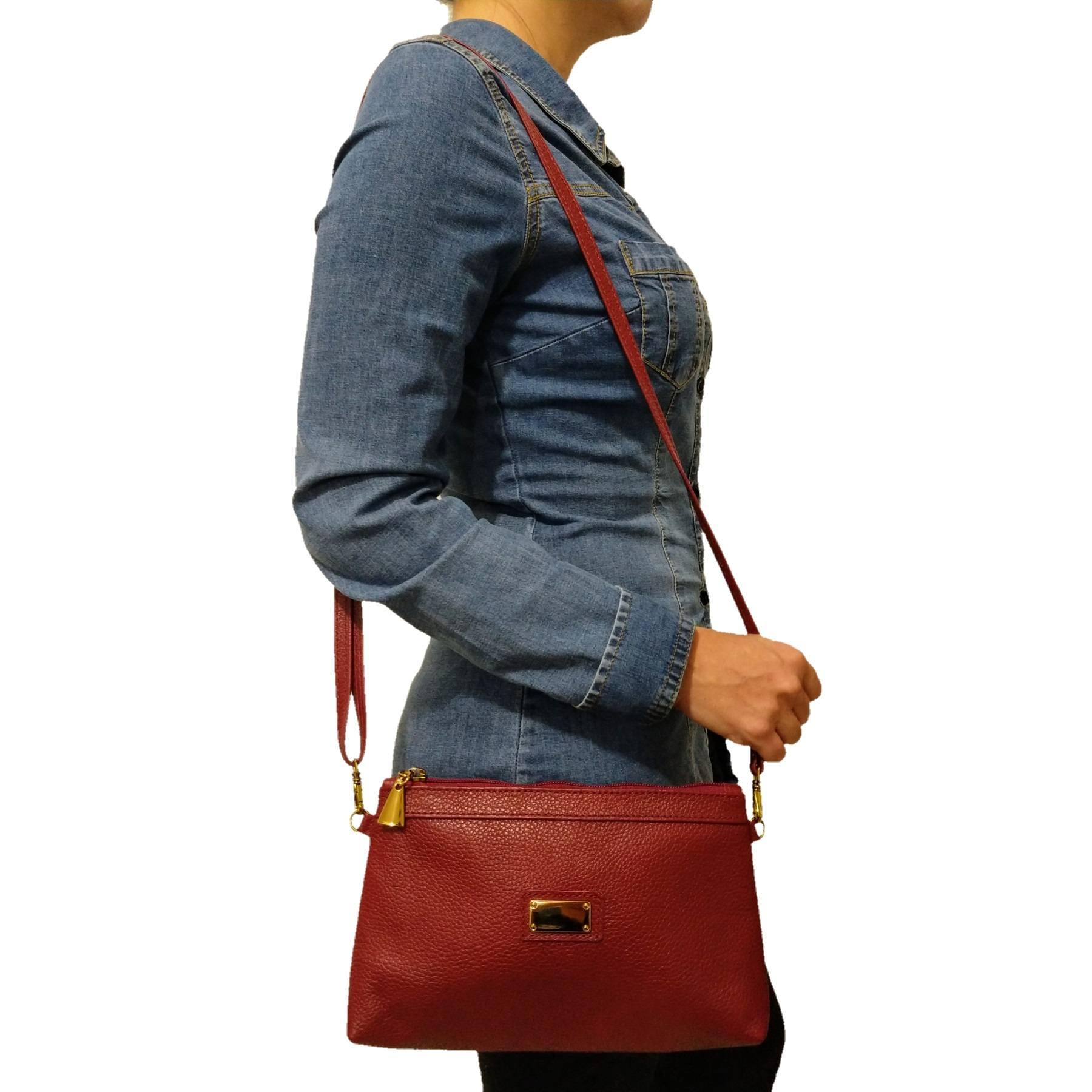 Bolsa Carteira Clutch TopGrife Transversal Couro Vermelho  - SAPATOWEB.COM