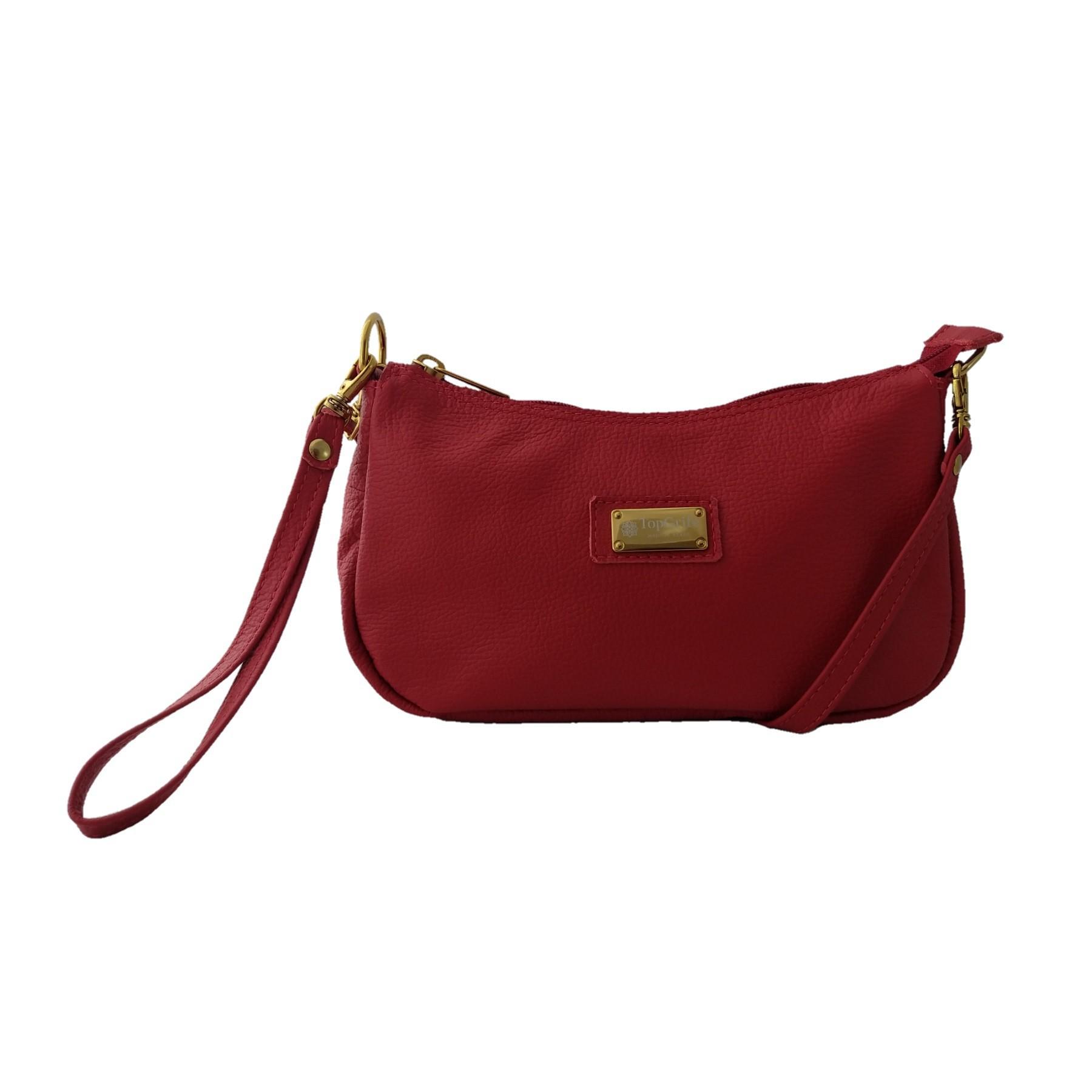Bolsa Carteira Clutch TopGrife Transversal Couro Vermelho - Promoção  - SAPATOWEB.COM