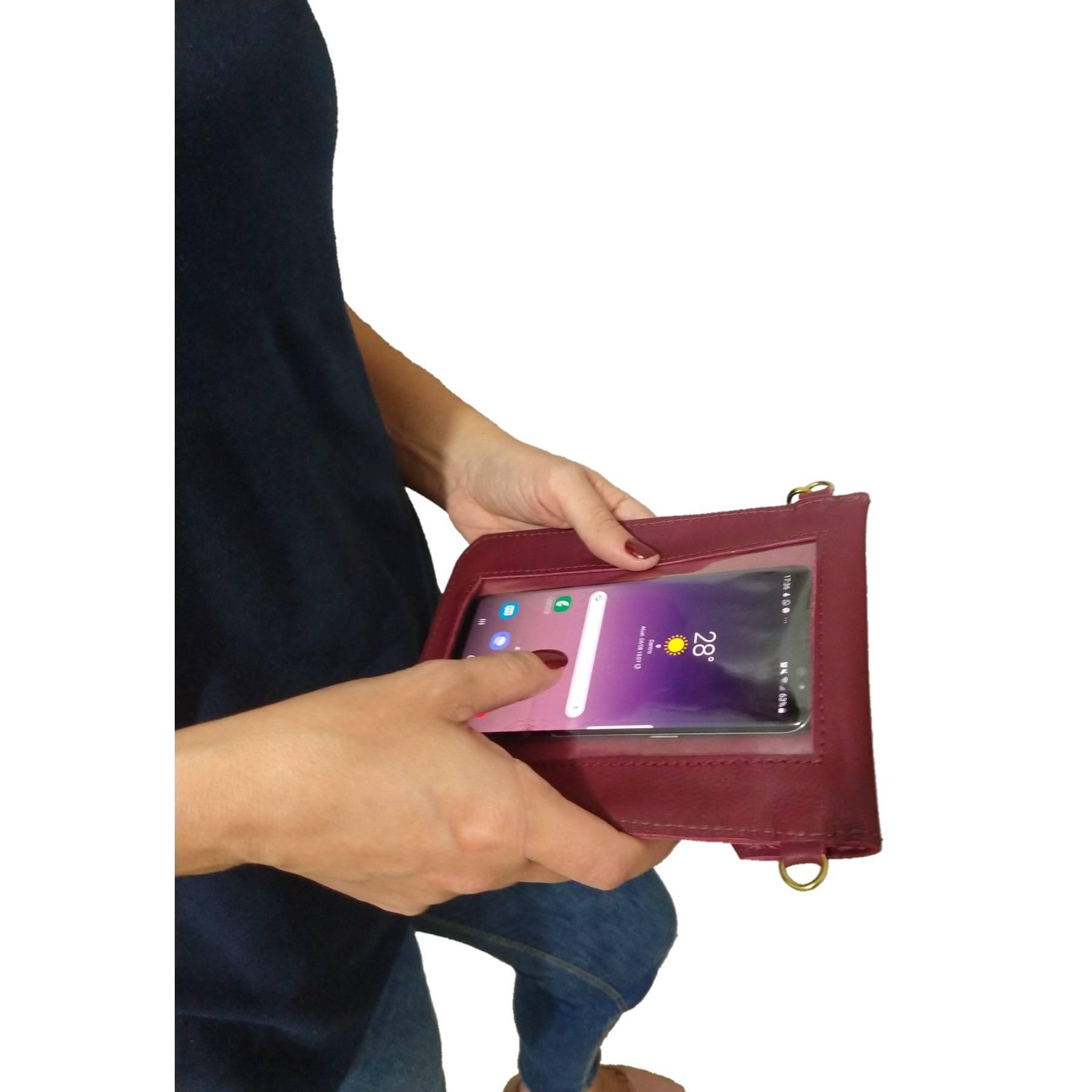 Bolsa Clutch TopGrife Porta Celular Couro Bordô  - SAPATOWEB.COM