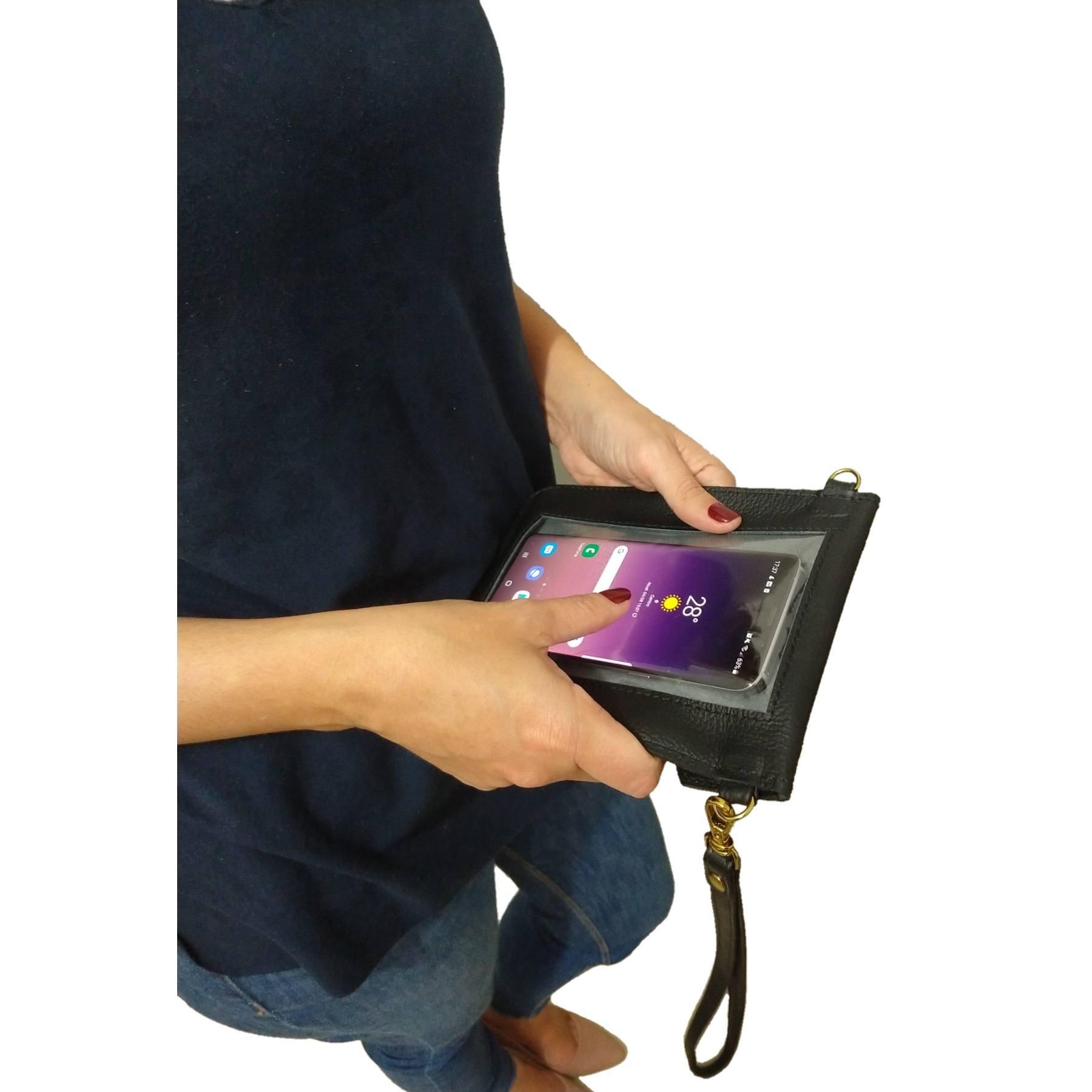 Bolsa Clutch TopGrife Porta Celular Couro Preto  - SAPATOWEB.COM