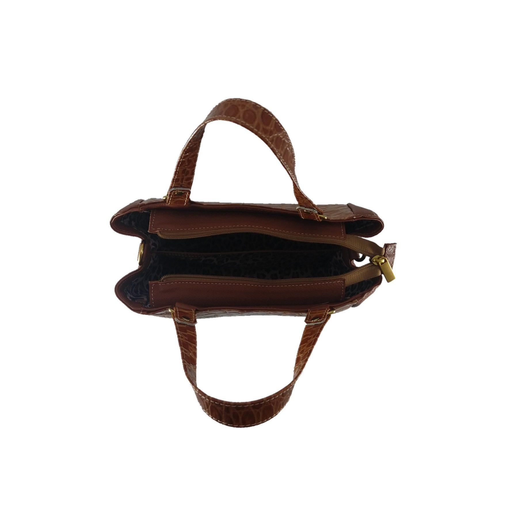 Bolsa Estruturada TopGrife Couro Caramelo  - SAPATOWEB.COM