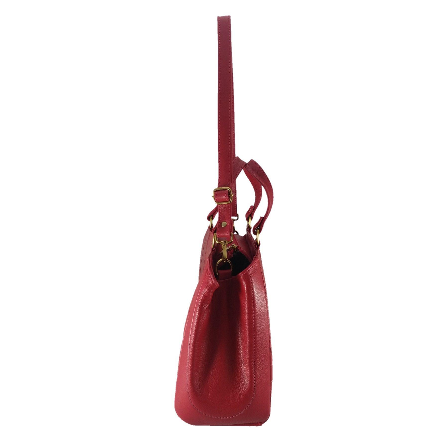 Bolsa Estruturada TopGrife Couro Vermelho  - SAPATOWEB.COM