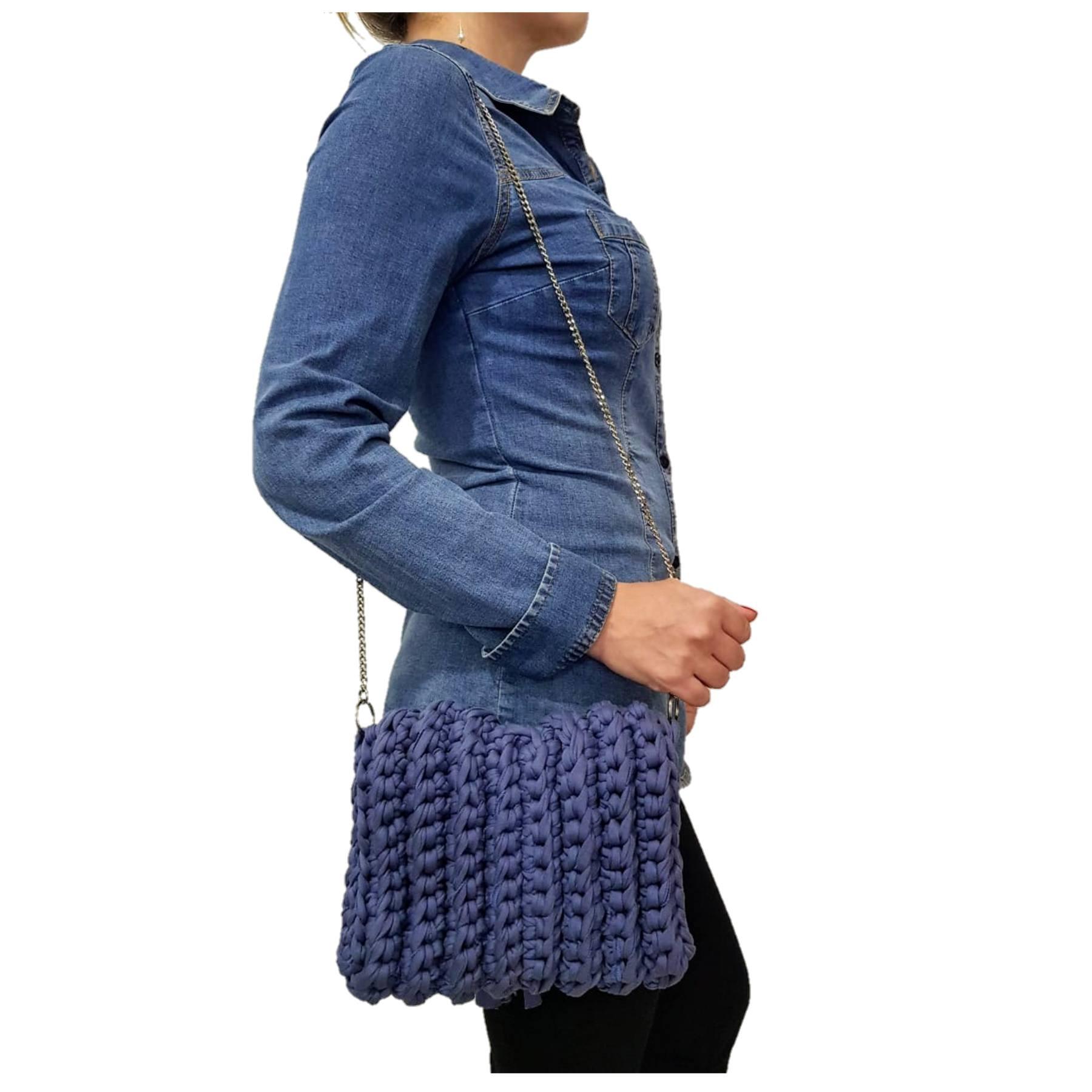 Bolsa Feminina Transversal SapatoWeb Crochê Algodão Azul  - SAPATOWEB.COM