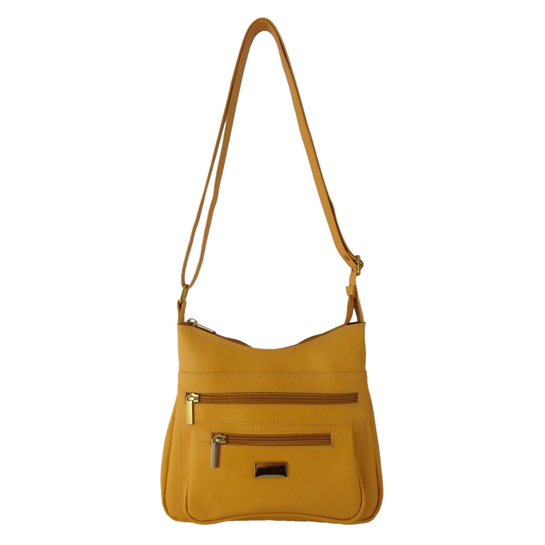 Bolsa Feminina Transversal TopGrife Couro Amarelo  - SAPATOWEB.COM
