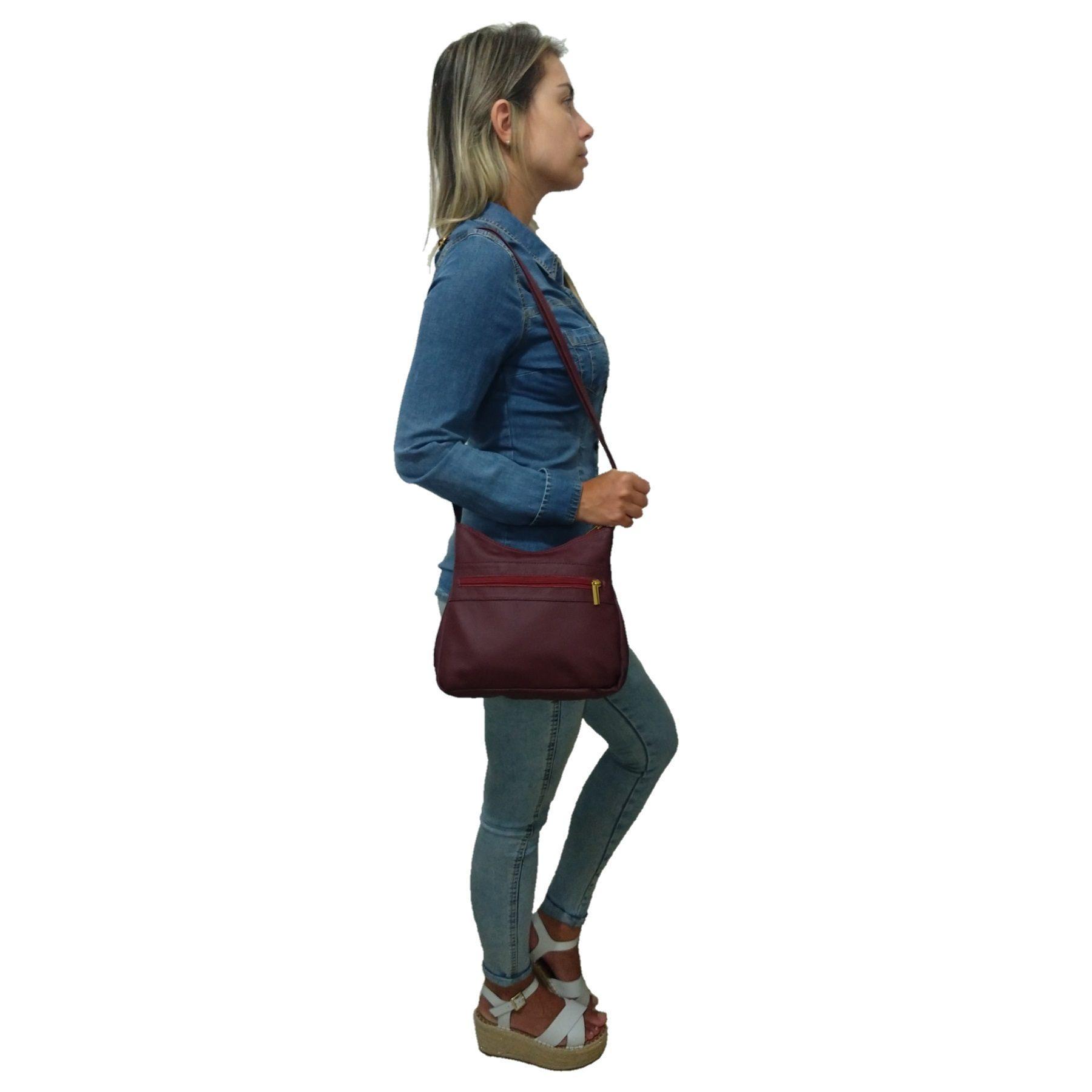 Bolsa Feminina Transversal TopGrife Couro Bordô  - SAPATOWEB.COM