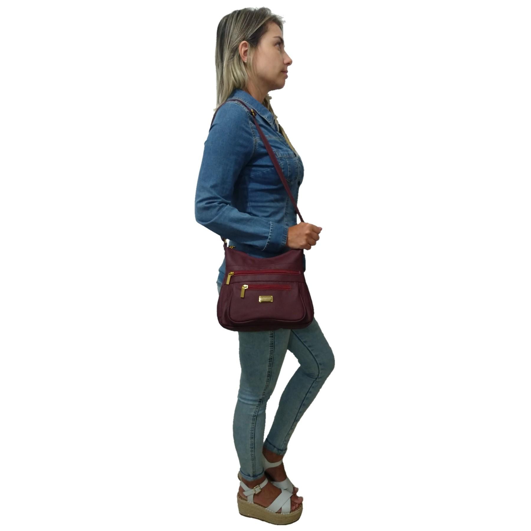 Bolsa Feminina Transversal TopGrife Couro Bordô - Promoção  - SAPATOWEB.COM
