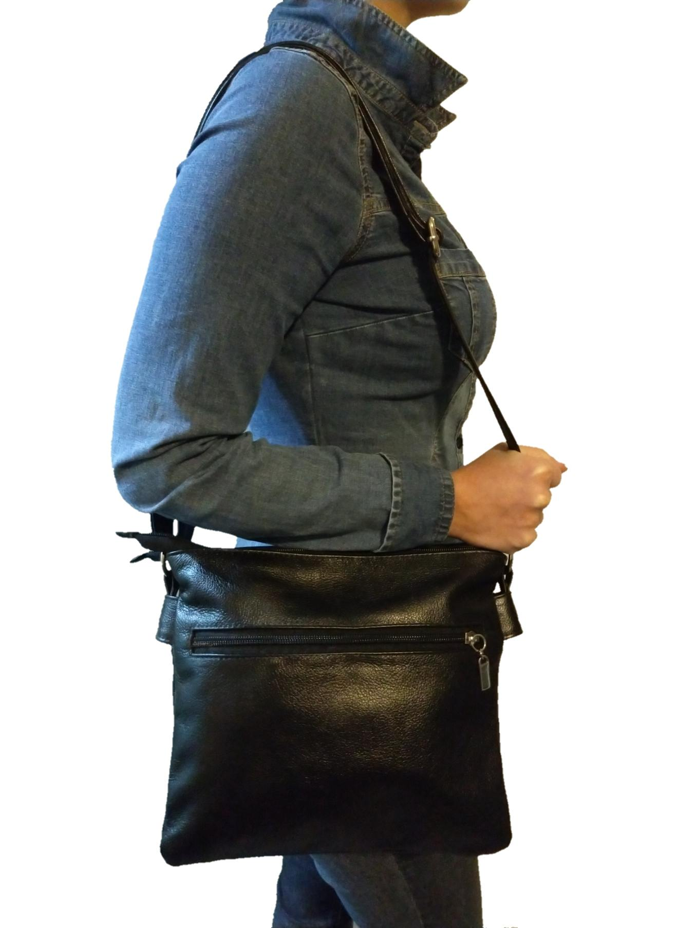 Bolsa Feminina Transversal TopGrife Couro Preto  - SAPATOWEB.COM