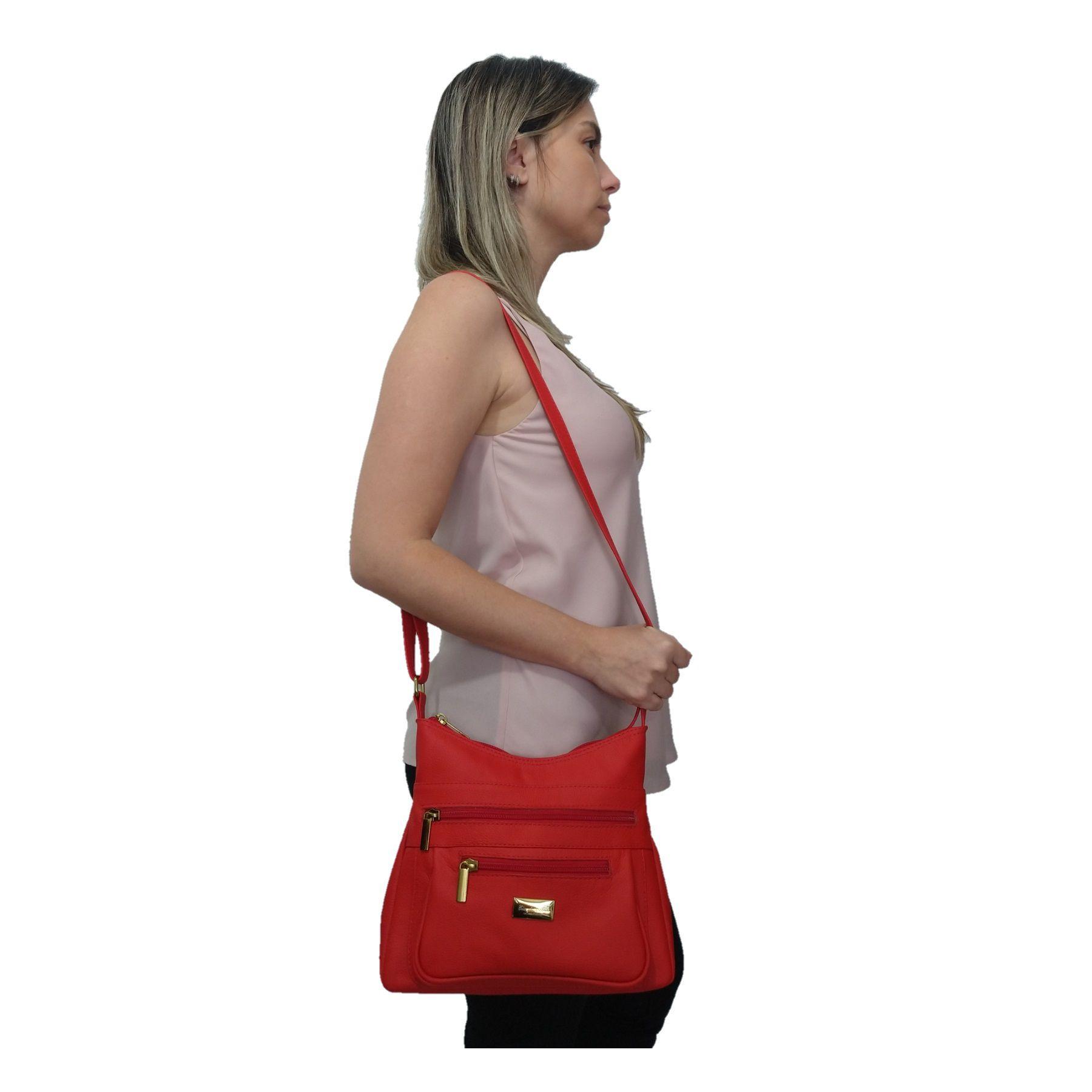 Bolsa Feminina Transversal TopGrife Couro Vermelho  - SAPATOWEB.COM