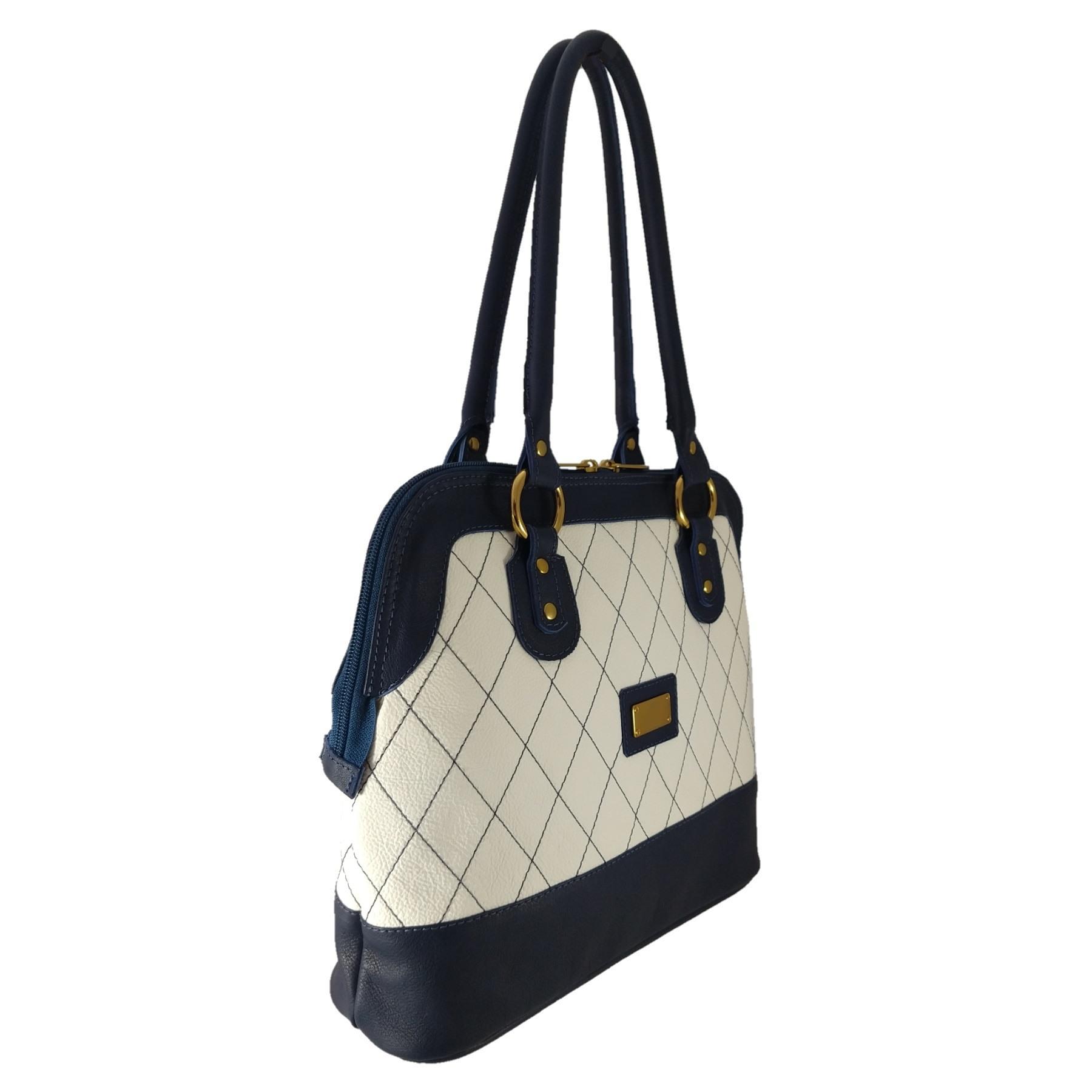 Bolsa Sacola TopGrife Shopper Couro Azul Marinho e Branco  - SAPATOWEB.COM