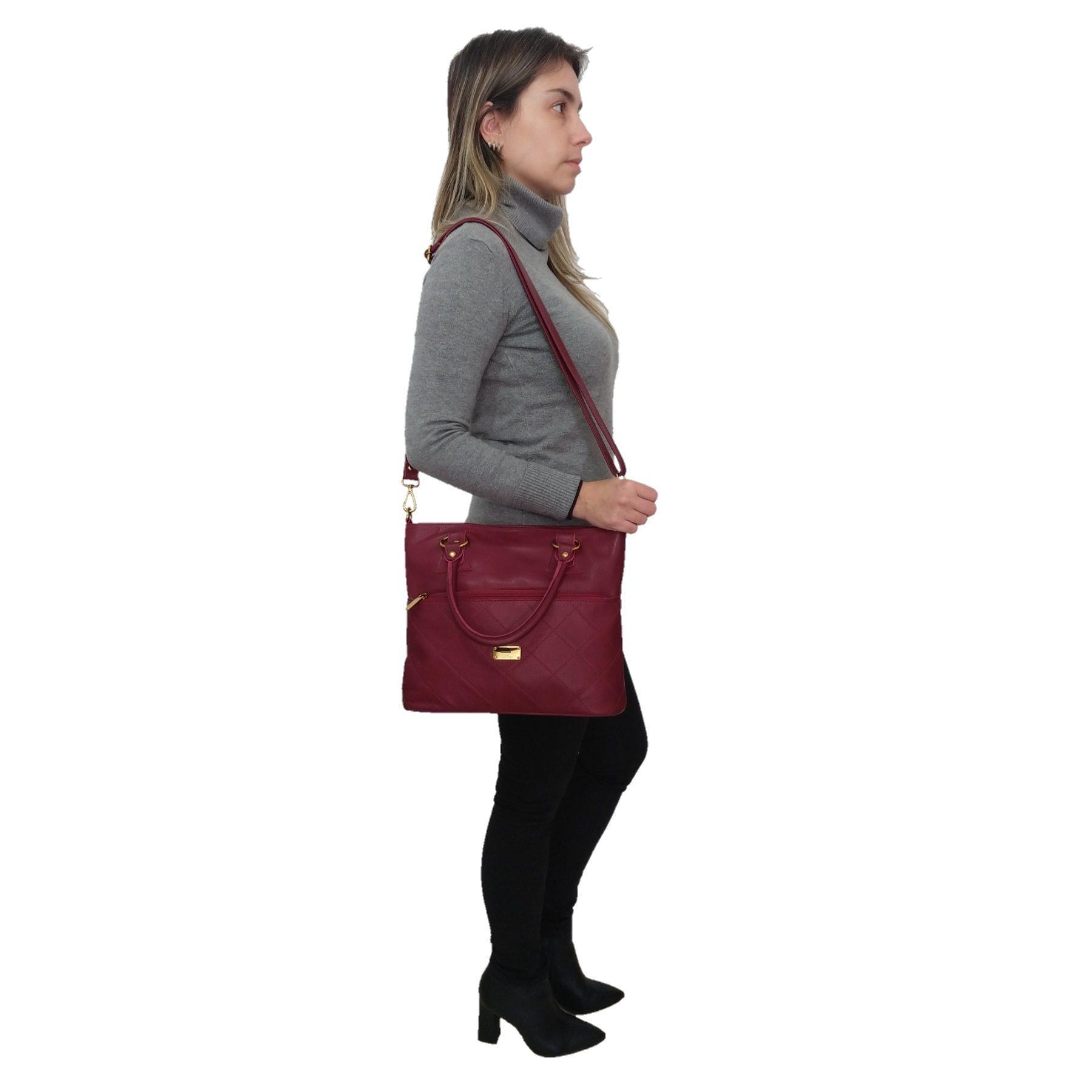 Bolsa Sacola TopGrife Shopper Couro Bordô  - SAPATOWEB.COM